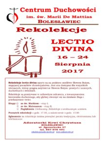 Rekolekcje Lectio Divina — Bolesławiec @ Adoratorki Krwi Chrystusa